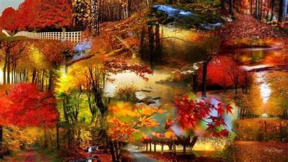 Collage Autumn Bright Fall Leaves Wide Desktop