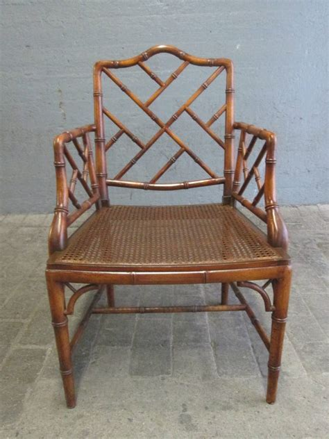 Pair Of Chinese Faux Bamboo Chippendale Style Armchairs