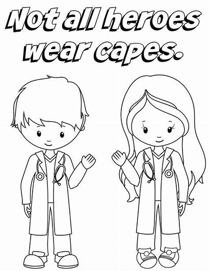 Coloring Nurse Thank Doctor Nurses Heroes Wear