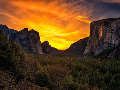 sunset  yosemite national park united states landscape