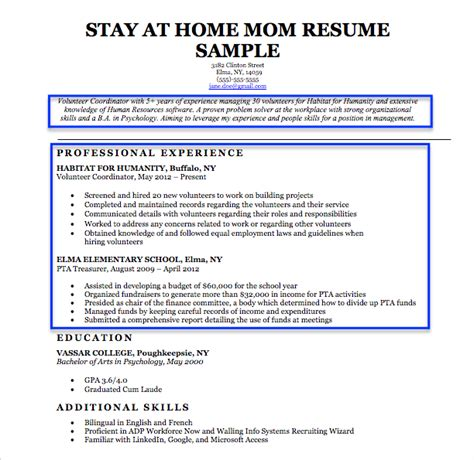 Resume Objective Exles Stay At Home stay at home resume sle writing tips resume companion