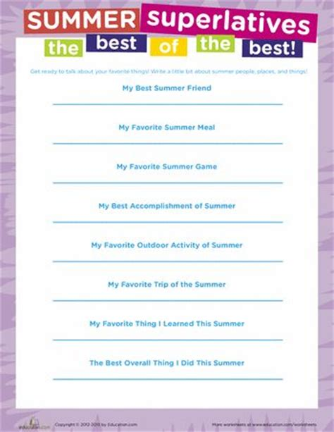 worksheets summer and on