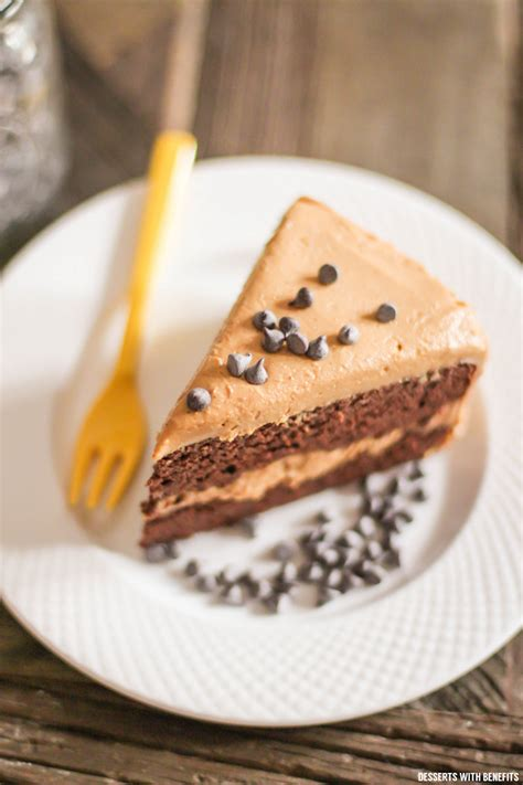 healthy chocolate cake with peanut butter frosting