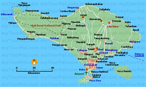tourist map  bali indonesia gitgit waterfall bali
