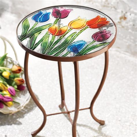 beautiful tulip garden patio accent table tables
