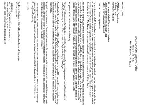 breast implant removal sample letter  medical necessity