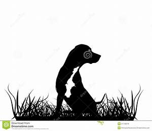Black Silhouette Of Hunting Dog Stock Illustration - Image ...