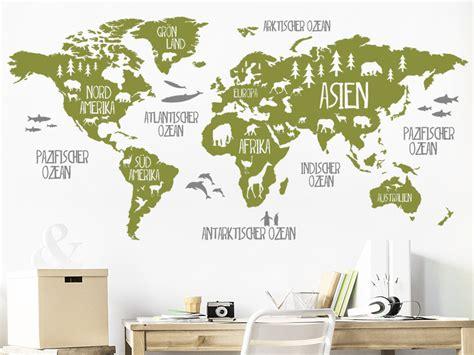 Wandtattoo Kinderzimmer Weltkarte by Wandtattoo Weltkarte Mit Tieren Wandtattoos De