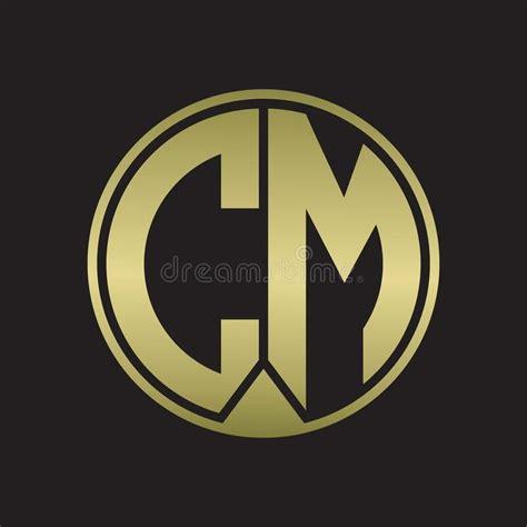 cm logo monogram circle  piece ribbon style  gold colors stock vector illustration