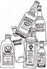 Liquor Bottles Rum Drawing Bottle Alcohol Glass Vodka Puzzle Tequila Absolut Coloring Drinks Etiquette Menue Unique sketch template