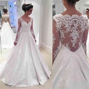newest a line long sleeve wedding dress 2017 lace With long sleeve wedding dresses 2017