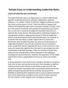 Leadership Styles Essays Examples