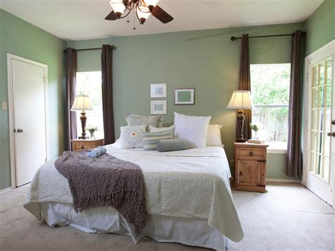 sage green bedroom with brown window panels hgtv