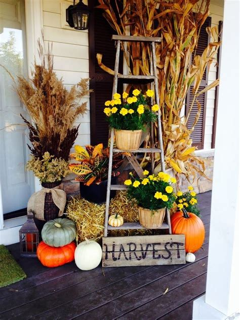 Fall Porch Decor with Repurposed Old Wooden Ladders Fall