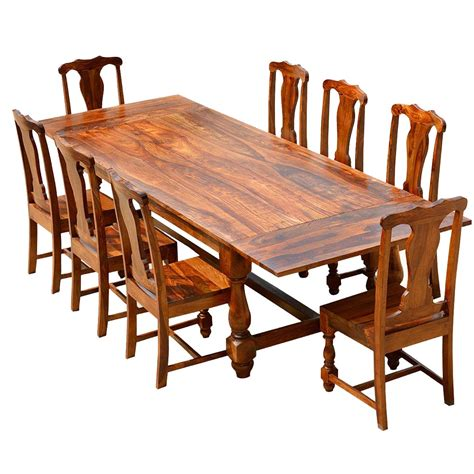 Rustic Solid Wood Dining Table & Chair Set Furniture W