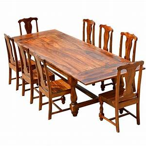 Rustic Solid Wood Extendable Dining Table Chair Set