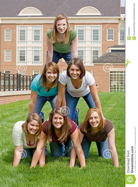 group  college girls stock images image