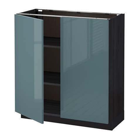 METOD Base cabinet with shelves/2 doors Black/kallarp grey