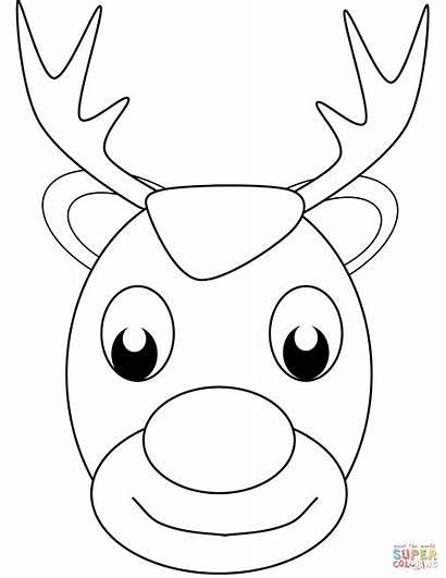 Reindeer Reno Colorear Coloring Navidad Cara Face
