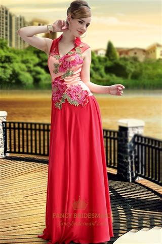 high collar red  neck prom dress tulle wedding dresses  applique fancy bridesmaid dresses
