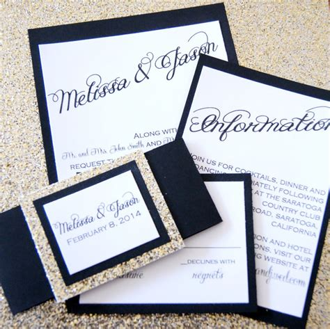 Black and Gold Glitter Wedding Invitation Suite Etsy