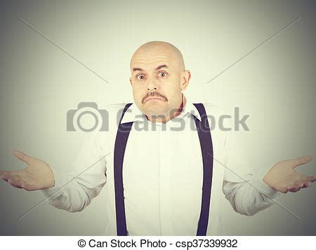 Stock Photos Of Bald Man Shrugging Shoulders I Don't Know