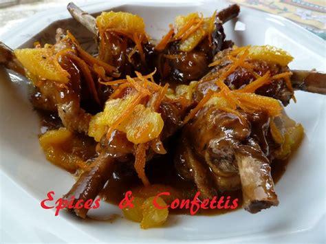 cuisiner des manchons de canard manchons de canard à l 39 orange epices confettis