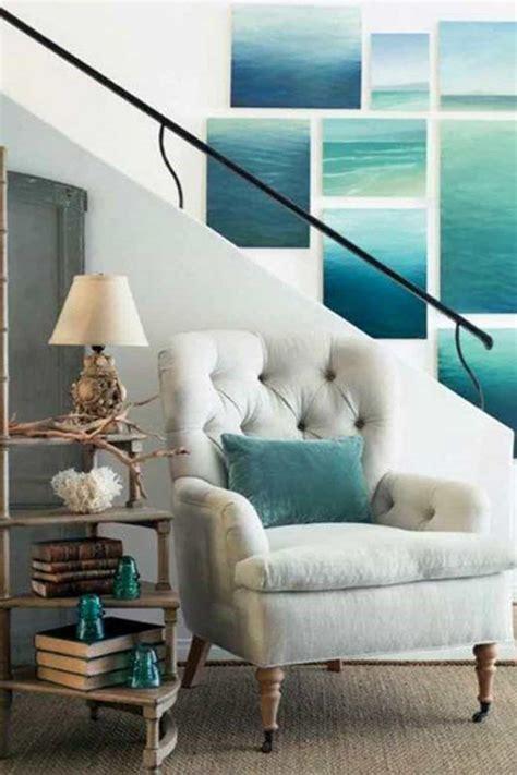 Modern Beach House Interior With Canvas Wall Arts