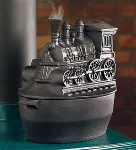 Black Vintage Wood Stove Cast Iron Kettle Pot Steamer ...
