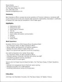 resume sles for banking operations professional bank operations officer templates to showcase
