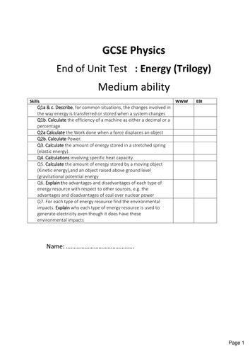 New Gcse Physics  Energy Exam ( Trilogy, Combined) By Bushrahayat  Uk Teaching Resources Tes