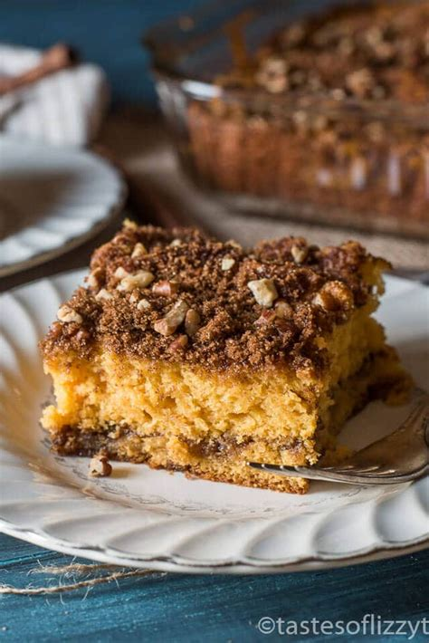 Coffee cakes traditionally do not have actual coffee in the ingredients. Butterscotch Coffee Cake with Brown Sugar Pecan Streusel
