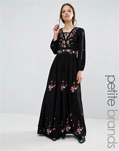boohoo petite boohoo petite embroidered folk maxi dress With robe boheme noire