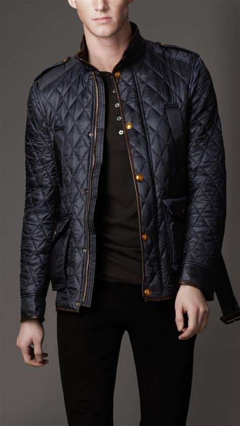mens quilted jacket lyst burberry leather trim quilt jacket in blue for