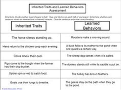 inherited  acquired traits worksheet school