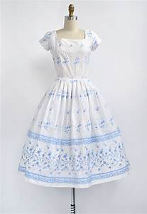 vintage 1950s embroidered white blue floral summer dress
