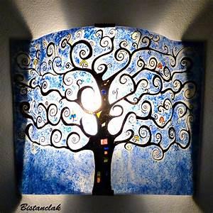 Arbre De Vie Deco : applique d 39 ambiance bleu cobalt motif arbre de vie ~ Dallasstarsshop.com Idées de Décoration