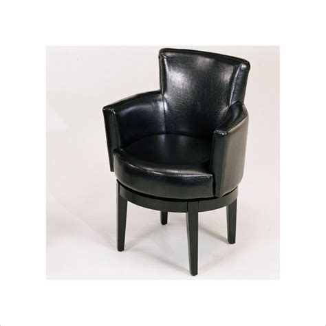 swivel leather club chair in black lc247arswbl