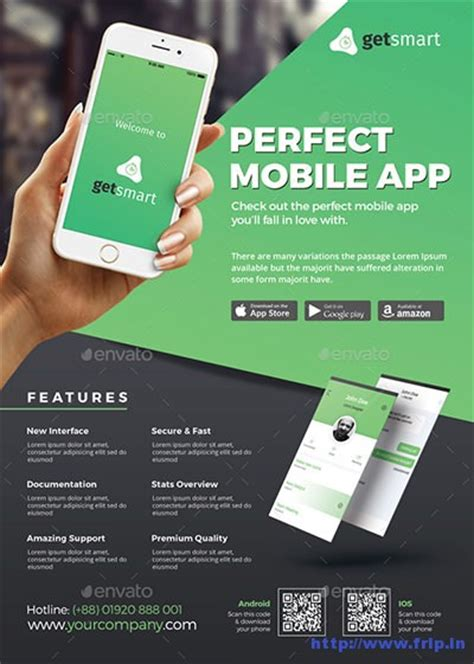 mobile app promotion flyer templates  fripin