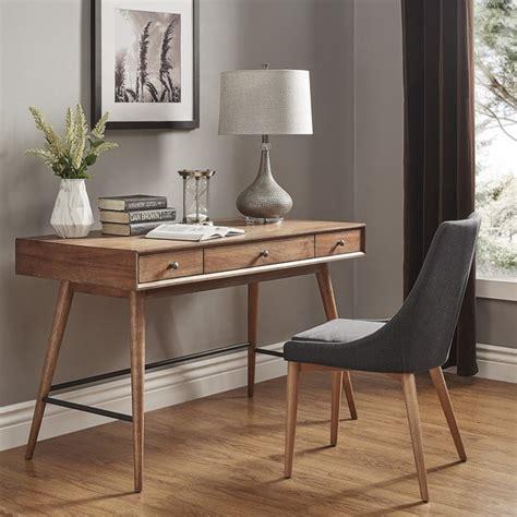brown wood desk aksel brown wood 3 drawer writing desk inspire q modern
