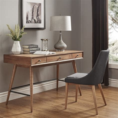 brown desk with drawers aksel brown wood 3 drawer writing desk inspire q modern