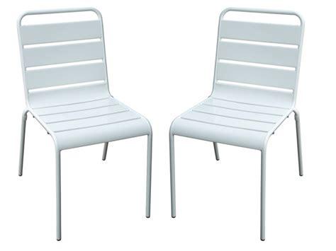 lot chaise de jardin lot de 2 chaises de jardin en métal blanc marcala