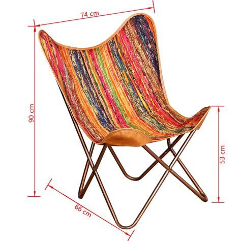 chaise papillon acheter vidaxl chaise papillon tissu chindi multicolore