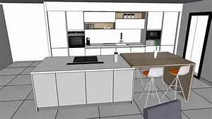 Cuisine moderne laquee blanc brillant avec ilot youtube for Deco cuisine avec chaise blanche contemporaine