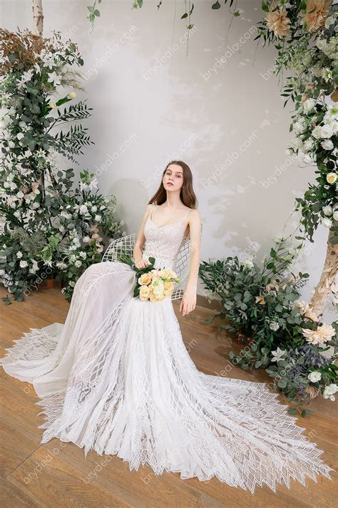 Flowy Spaghetti Strap Lace Boho Wedding Dress