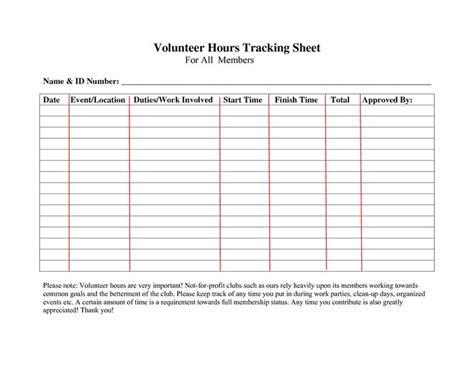 volunteer hours log sheet template forms sign in sheet