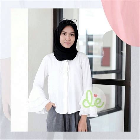 Blouse Atasan Wanita jual m blouse acara baju kemeja untuk atasan rajut putih