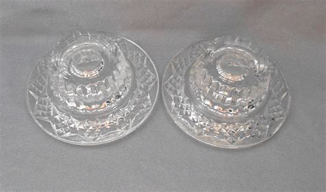 pressed pattern vintage glass candle holders   sold gallery