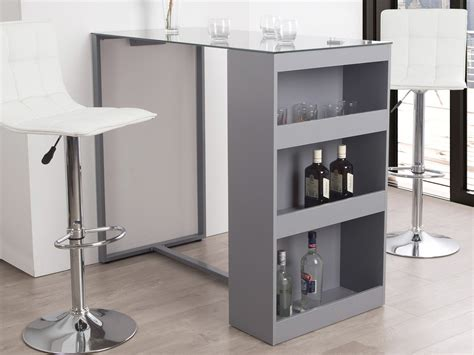 table bar de cuisine avec rangement table de bar avec rangement et plateau en verre trempé