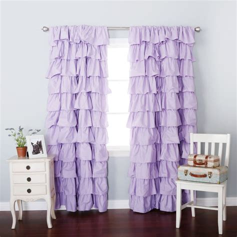 Purple Waterfall Ruffle Curtains by Lilac Blackout Large Waterfall Ruffle Curtain Soft And